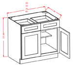 Double Door Double Drawer Base Cabinets