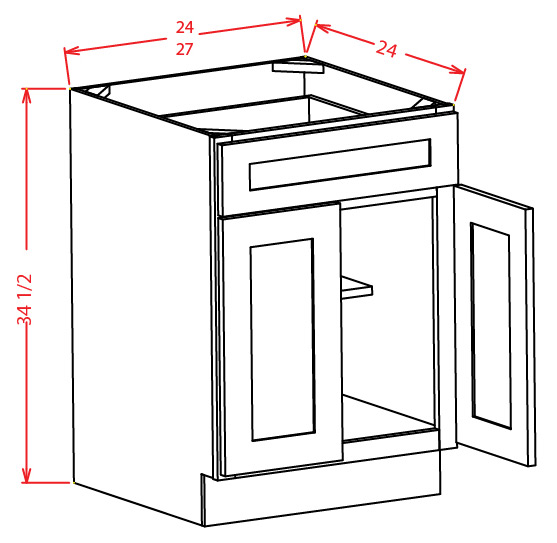 Double Door Single Drawer Base Cabinets