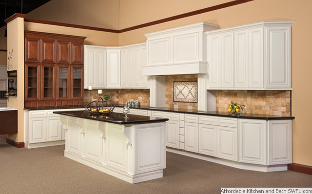 Affordable kitchens and cabinets fort myers florida for Kitchen cabinets antique white