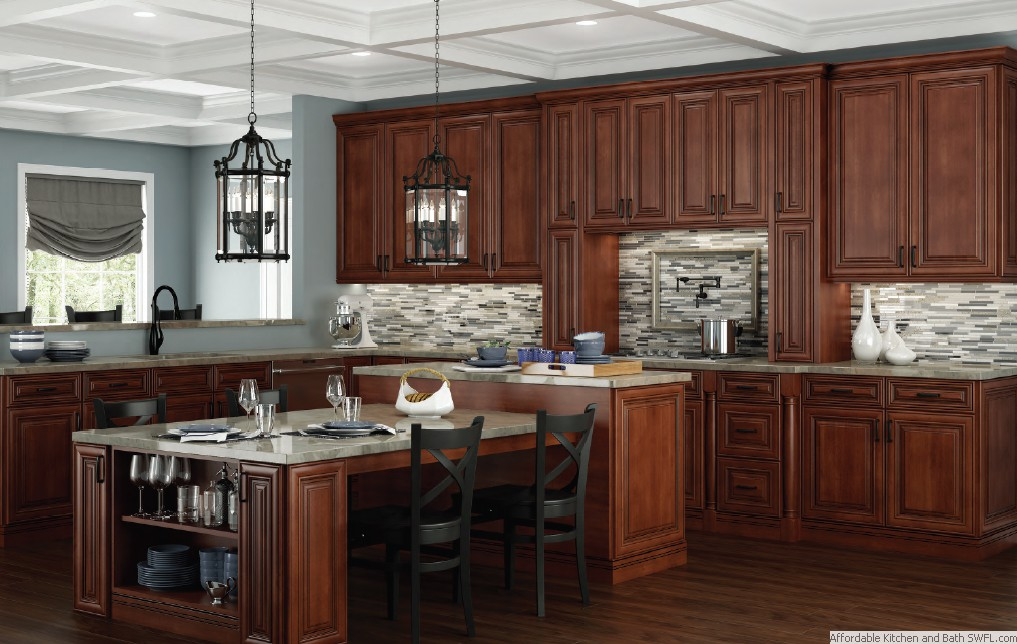 click to shop kitchen cabinets in charleston saddle